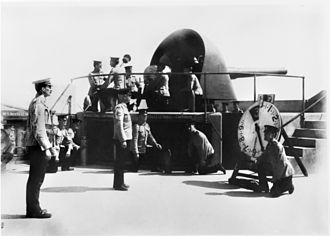Australian Army Reserve - A six-inch gun at Fort Nepean in August 1914. This gun fired Australia's first shot of the war when the German merchant ship SS Pfalz attempted to escape from Port Philip Bay on 5 August 1914.