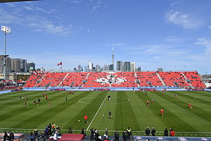 BMO Field - A view of BMO Field before more seating was put on the East Grandstand, looking eastward towards downtown Toronto in 2012.
