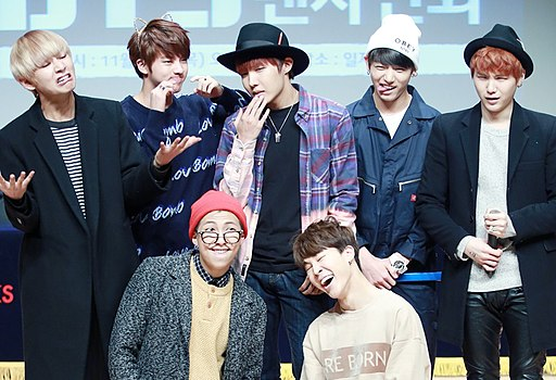 BTS at a fanmeeting in Gangnam, 27 November 2014