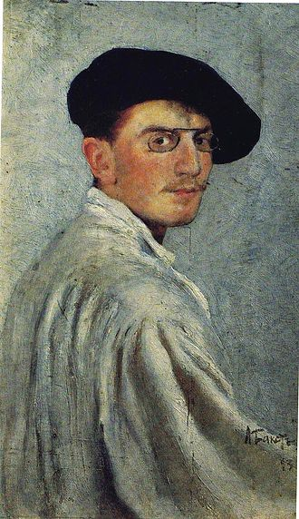 Léon Bakst - Bakst's Self-portrait, 1893, oil on cardboard, 34 x 21 cm., The State Russian Museum, St. Petersburg, Russia