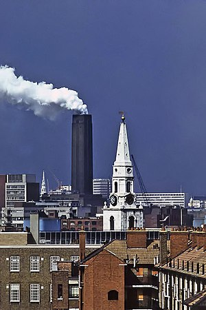 Flue gas - Flue gas from London's Bankside Power Station, 1975