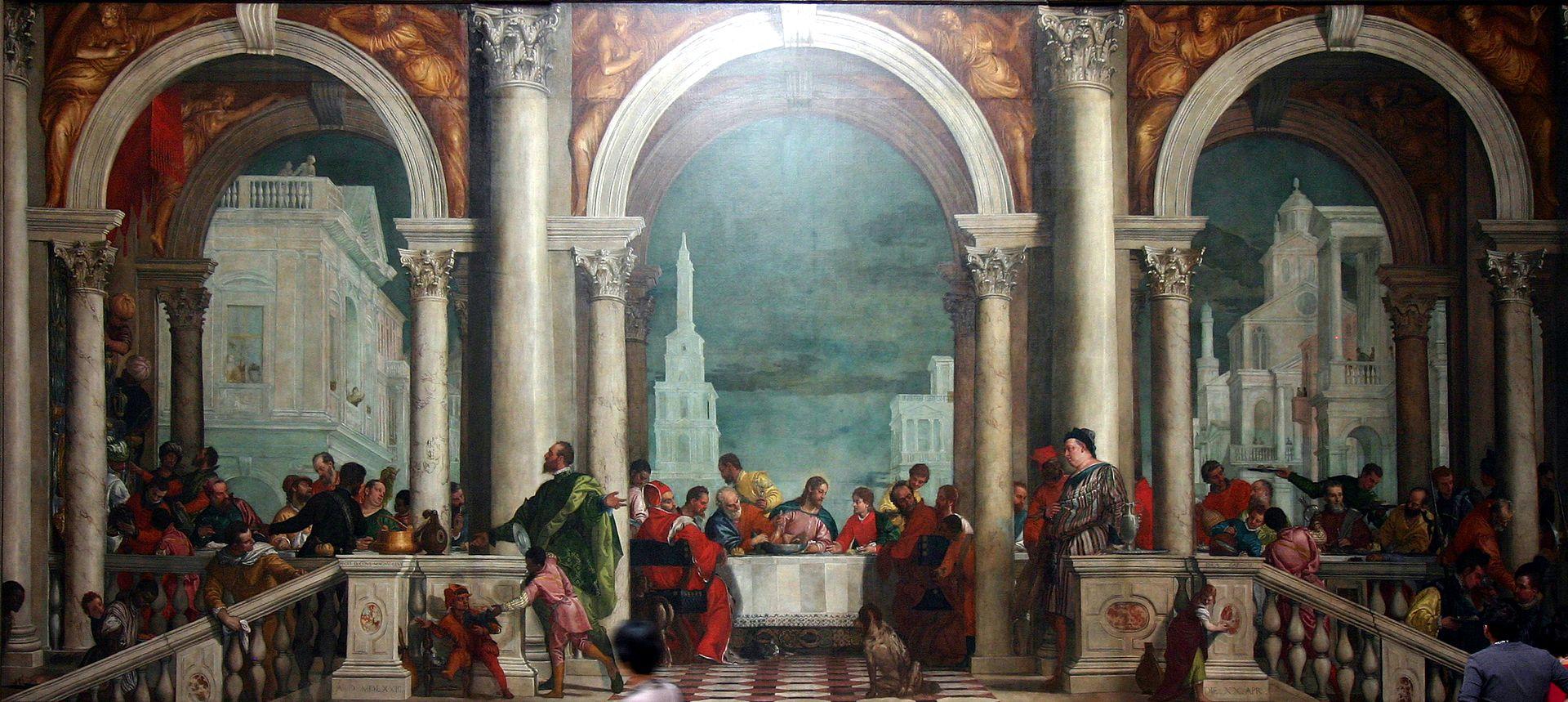 En Cena en la casa de Leví, Paolo Veronese convirtió una última cena en una fiesta