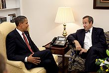 Barack Obama left sitting with Toomas Hendrik Ilves right in the White House Monday, 15 June 2009