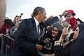 Barack Obama greets people after arriving at Detroit Wayne Metropolitan Airport, 2011.jpg