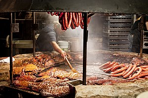 Barbecue - Meats being barbecued at a restaurant