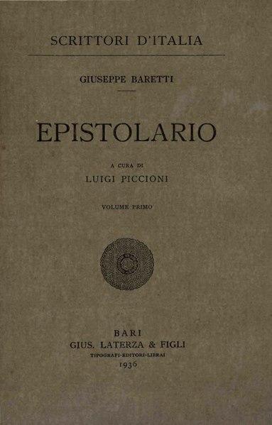 File:Baretti, Giuseppe – Epistolario, Vol. I, 1936 – BEIC 1746331.djvu