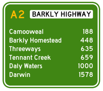 Barkly Highway - Approximate road distances (in kilometres) from Mount Isa westwards