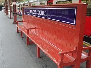 Barons Court tube station - The unique bench on the eastbound island platform.