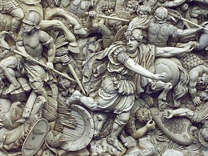 Battle of Gaugamela - Darius flees (18th-century ivory relief)