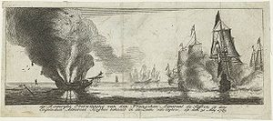 Fourth Anglo-Dutch War - Glorious action of the French Admiral Suffren against the British Admiral Hughes in the seas of Ceylon. The intervention of the French navy attempted to rescue the Dutch colonies in Asia