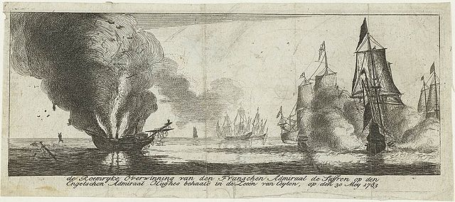 Glorious action of the French Admiral Suffren against the British Admiral Hughes in the seas of Ceylon. The intervention of the French navy attempted to rescue the Dutch colonies in Asia. Battaille Gondelour 1783 gravure hollandaise imaginaire 1783.jpg