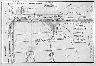 Battle of New Orleans - Early 19th century map depicting the battlefield at Chalmette Plantation on January 8, 1815