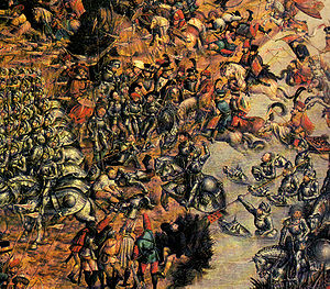 Warfare in Medieval Poland - Battle of Orsza 1514. National Museum in Warsaw, unknown author of 16th century. Observe the masses of heavy armoured cavalry and lightly equipped hussars
