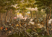 depiction of soldiers in confused fight amid forest