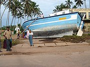 Beached boat in Galle, Sri Lanca after 2004 Tsunami