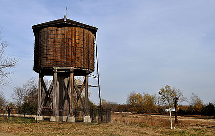 Beaumont St. Louis and San Francisco Railroad Water Tank (1875, restored 2012), Beaumont, Kansas, US