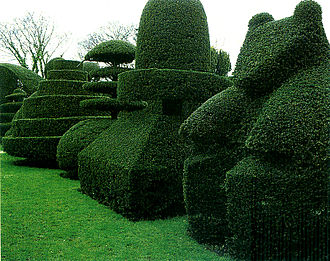 Beckley Park, Oxfordshire: cottage garden topiary formulas taken up in an early 20th-century elite English garden in a historic house setting Beckley Park topiary garden.jpg