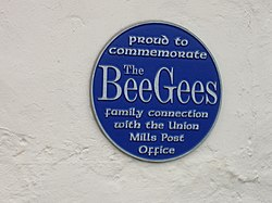 Photo of The Bee Gees, Maurice Gibb, Barry Gibb, and Robin Gibb blue plaque