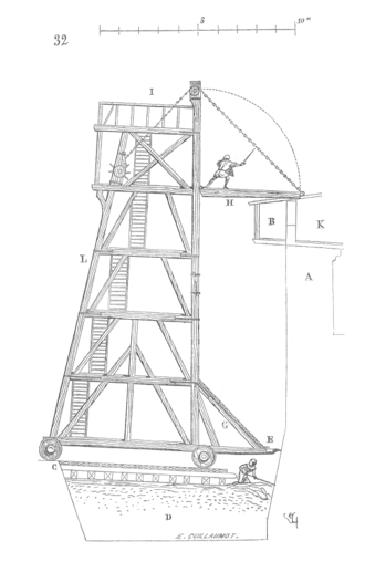 Siege tower - A sketch of a medieval siege tower.