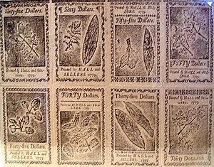 Nature printing - Benjamin Franklin's nature printed currency (1779)