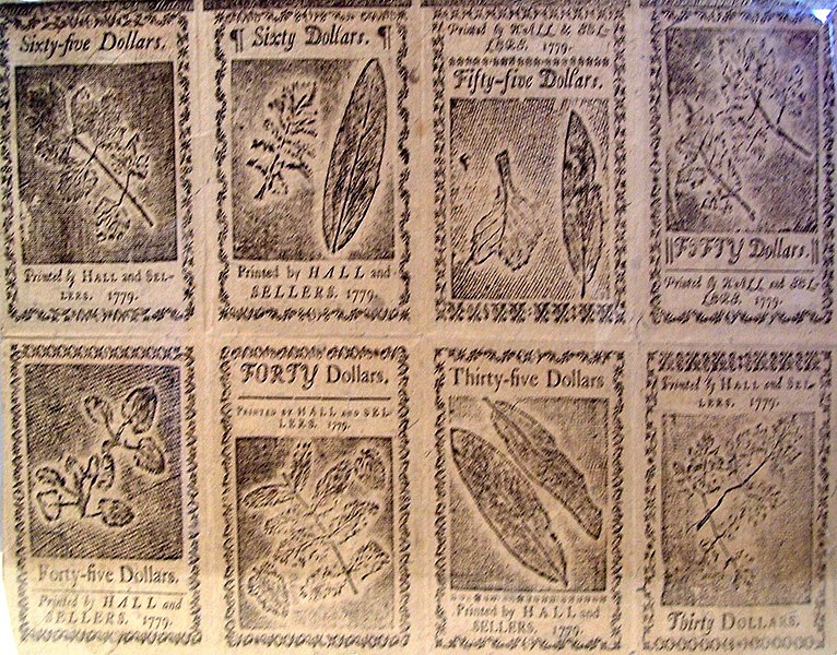 Benjamin Franklin nature printed currency sheet 1779