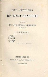 Henri Bergson  Wikipedia Quid Aristoteles De Loco Senserit Dissertation