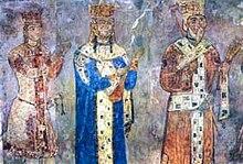 El panel real en el monasterio Betania: Jorge IV Lasha , Tamar , y Jorge III (de izquierda a derecha)