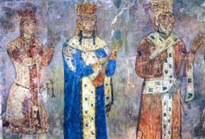 Betania Monastery - The royal panel at the Betania monastery: George IV Lasha, Tamar, and George III (from left to right)