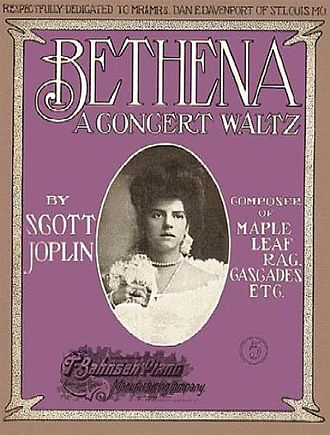 "Scott Joplin - Cover of Scott Joplins 1905 work ""Bethena""; a not proven theory is that the woman on the cover is a wedding picture of Joplins 2nd wife Freddie Alexander who had passed away September 1904"