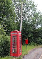 Betts Lane telephone and phone box at Nazeing, Essex, England.JPG