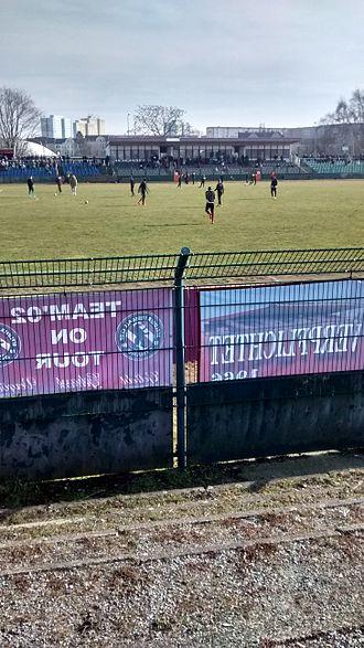 Sportforum Hohenschönhausen - Main stand at the Football stadium