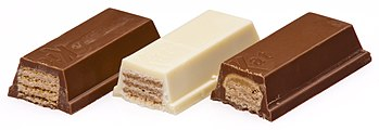 English: An array of big Kit Kat bars. These a...