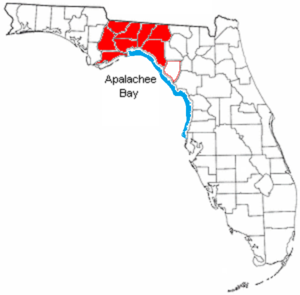 Big Bend (Florida) - This map shows the Big Bend Coast of Florida in blue, and the Big Bend region in red.
