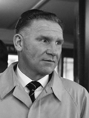 Alf Ramsey - Bill Nicholson, with whom Ramsey made an effective partnership when playing at Tottenham Hotspur, but who was also a rival of his. Both went on to manage top-flight clubs. (1961)