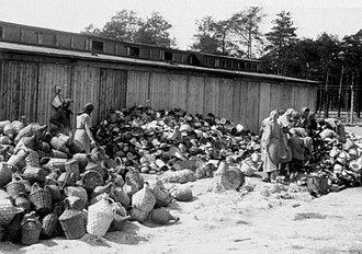 Birkenau Sorting personal belongings next to the Canada barracks.jpg