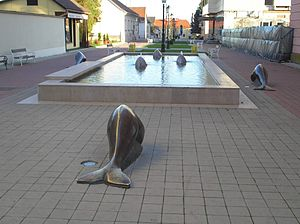 "Bjelovar - ""Return of the Pannonian whales"" fountain"