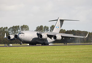 Strategic Airlift Capability - The three Strategic Airlift Capability Boeing C-17 Globemaster III aircraft are owned by the 12 SAC member nations. They are registered and flagged in the program host nation Hungary bearing the name of the SAC home base, HDF Pápa Air Base, on their tails.