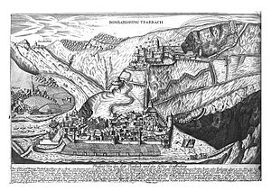 Siege of Trarbach - An engraving depicting the bombardment of Trarbach and the Grevenburg