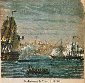 Franco-Moroccan War - Bombardment of Tangiers, engraving by N.E. Sotain.