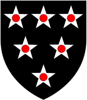 Baron Bonville - Arms of Bonville: Sable, six mullets argent pierced gules