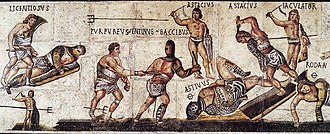 Third Servile War - The Gladiator Mosaic at the Galleria Borghese.