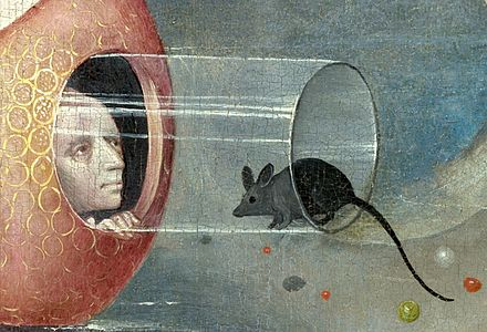 Bosch, Hieronymus - The Garden of Earthly Delights, central panel - Detail man with mouse (lower left).jpg