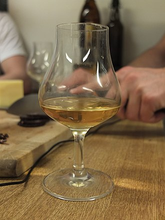 Single malt whisky - A glass of Bowmore 12-Year-Old single malt whisky