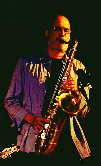 "Michael Brecker - Michael Brecker in July 2004, performing during the ""Jazz for Kerry"" benefit concert in Manhattan."