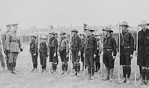 Ernest Alexander Cruikshank - Cruikshank reviewing a troop of Boy Scouts in 1915 in Calgary