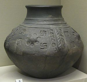 Swastika (Germanic Iron Age) - Image: British Museum cinerary urn with swastika motifs