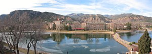 Cheyenne Mountain - Image: Broadmoor lake panorama to west