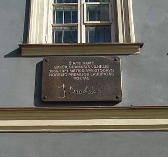 Joseph Brodsky - Plaque marking where Brodsky stayed in Vilnius.