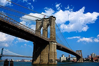 Brooklyn Bridge Hybrid cable-stayed/suspension bridge across the East River between Manhattan and Brooklyn, New York