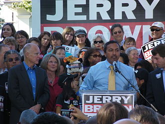 Ami Bera - Bera at an October 2010 rally for Jerry Brown